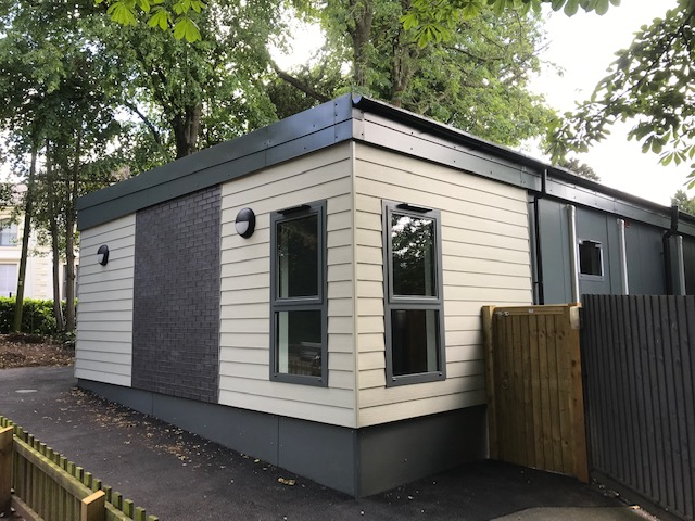 Modular Classroom Leicester, Music Room, Brick slip and composite cladding
